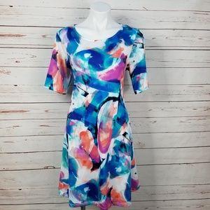 Nina Leonard Dresses - Nina Leonard Multi-Color Watercolor Shift Dress